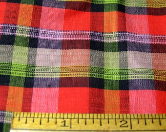 "Vintage 1950's Chambray Cotton 36"" Wide PLAID Red Green Black Pink 36"" x 36"""