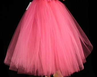Hot Pink Floor length Adult tutu tulle skirt petticoat two layer bridal wedding prom dance bridesmaid -You Choose Size - Sisters of the Moon