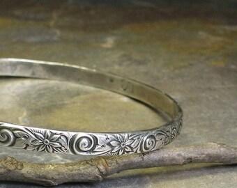 Sterling Silver Patterned Bangle - Whisper of Spring