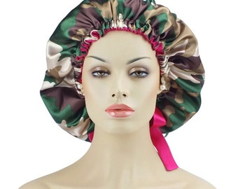 Satin Bonnet lined Cap Camouflage with Drawstring