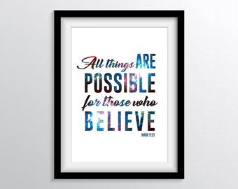Believe Print, Instant Download, 4 Digital Downloads, Inspirational Art, Christian Art, Typography Art, Bible Verse