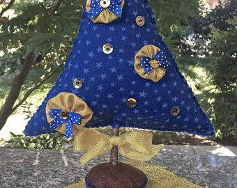 Christmas-tree blue fabric with Golden decorations