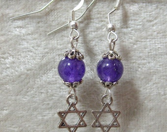 Star of David Earrings - Amethyst Stone