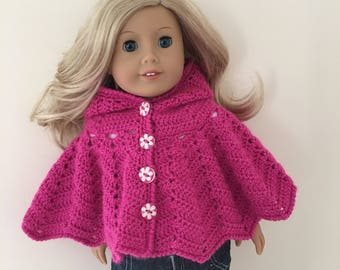 Pink 18 inch doll hooded cape! doll clothes, doll hat, doll poncho, American Girl, Gotz Precious day, doll outfit, toy, doll