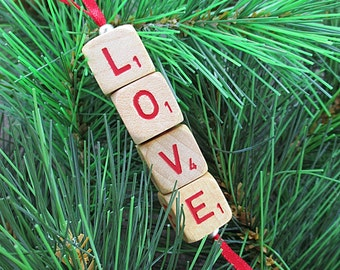 LOVE Christmas Ornament - Scrabble RSVP Cube Ornament, Stocking Stuffer, Package Tie-On, Co-Worker Gift