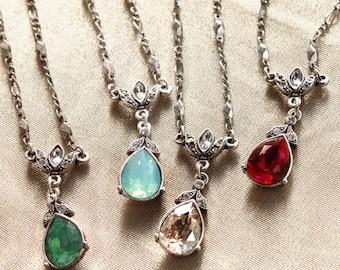 Crystal Pear Vintage Victorian Teardrop Necklace N1170