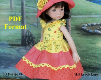 "PDF Sewing Pattern for Dianna Effner 13"" Little Darlings/ Puddle Jumper Dress and Hat"