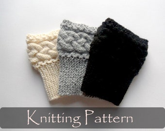 KNITTING PATTERN - Braided Boot Cuffs Cable Knit Boot Toppers Pattern Boot Socks Tutorial Knit Instructions Leg Warmers Knit PDF - P0053