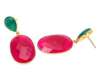 Earring 925 Sterling Fuchsia Chalcedony& Green Onyx gemstone Earrings-Vermeil Gold