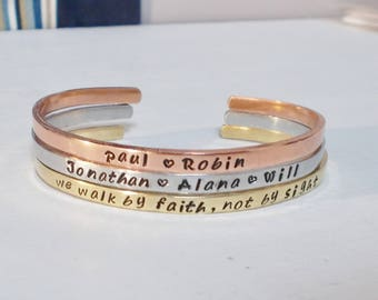 Personalized Family Set of Hand Stamped Skinny Cuff Bracelets Names and Your Choice of Word or Phrase Silver Aluminum Brass Copper Bracelet