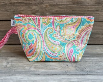 Small paisley fabric project bag