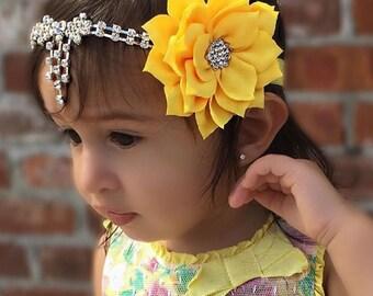 Yellow Headband, Bow connector, Flower, Fancy, Baby Headband, Teen, Adult, Dangle, Tear Drop, Yellow Flower, FlowerGirl, Bride, Props