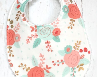 Baby Bibs for Girl  - Single Bib - Triple Layer Chenille  - Wildflowers, Metallic Gold - MINT CORAL FLORAL