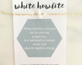 White Howlite Healing Crystal Necklace, marble, gemstone, gold, silver, white, howlite jewelry, gift, under 30, dainty, natural raw gemstone