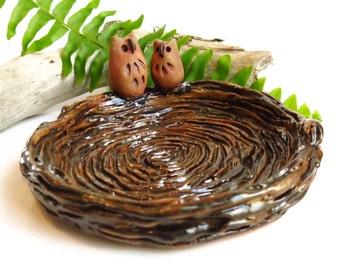 Ceramic Owl Plate / Pottery Owl Spoon Rest, Woodland Bird Theme Decor Trinket Dish, Nest Treasure Bowl, USA Artisan Handmade Owl Lover Gift