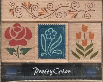 Box of 4 stamps work flower and DECORATION