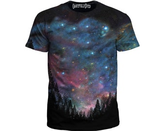 Galactic Galaxy Forest Tee - Festival Clothing - Psychedelic Space Woods - EDM T-Shirt