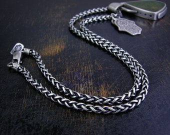 Beefy wheat chain made to order 3mm sterling silver soldered jump rings and lobster claw clasp antique rustic finish