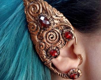 Elf ear cuff / Polymer clay ear cuff / Elven ear / Faerie jewerly / Copper wire ear cuff /Pagan / Vintage