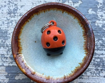 Lady Bug Betty: Individual Vintage-Inspired Lady Bug Bell Charm Stitch Marker for Knitters & Crocheters