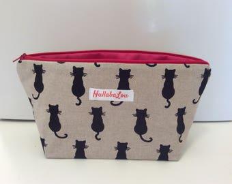 Cat print Wash bag,  cosmetic bag, pencil case, shadow cat wash bag, pink zip bag, makeup bag, cat bag, kids washbag, cats