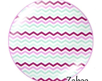 2 cabochons 25mm glass, stripe, purple and turquoise