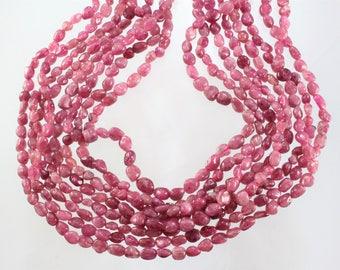 Tourmaline, Pink, Pebble Beads, Sku W10470