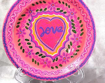 Mexican folk art, Decorative PLATE, LOVE ,(6x6x1 inches)flowers,pink,heart. (home decor,gift) original ,hand painted by jhf