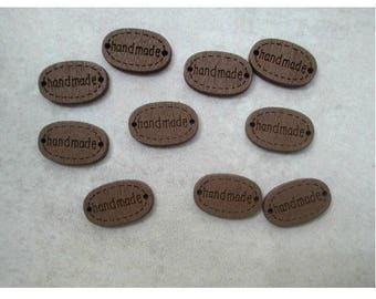 """Set of 10 buttons / connectors """"Hand made"""" Brown wood"""