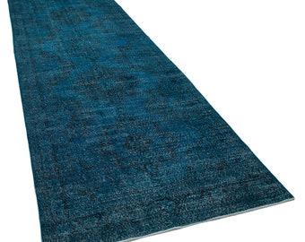 Turquoise Runner Rug - Handmade Turkish Ovedyed Long Runner - 4x14 Runner