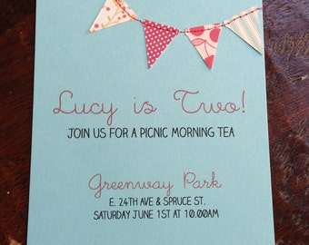 Birthday invitation | Bunting invite | pennant flags | stitched invitation | baby boy baby girl | circus | picnic | baby shower | rehearsal