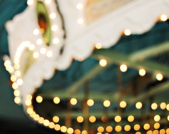 Dreamy Carousel Photograph, Pastel Colors, Carnival Print, Bokeh Carnival Lights, Nursery Decor Merry Go Round Art Print - In Dreams