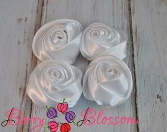 """White Satin Rosette - 2"""" inch size - satin rose flowers - rolled soft rosette - Set of 4 or 8 pieces"""