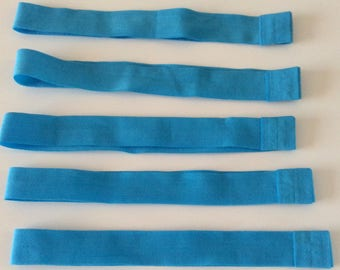 set of 5 elastic headband stretch turquoise 20mm