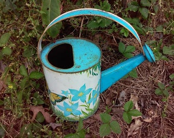 1950's to 1960's Vintage Metal Watering Can ~ Beautiful Lithographed Garden Images ~ Precious Childhood Memory!