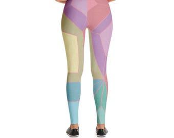 Pastel Crystals Leggings, Crystal Geometric Leggings, Pink Women's Leggings, Women's Stretch Pants, Geometric Pattern, Nerdy Leggings