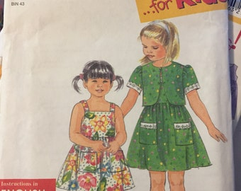 Girls' Sundress and Jacket  Simplicity 8029 Girls'  Sewing Pattern  Size 2-6x  Uncut  Complete