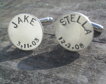 Personalized Solid Sterling Cufflinks by donnaodesigns