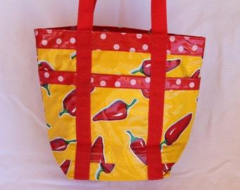 Red and Yellow Oilcloth Bag in Chile Design