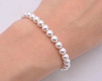 Swarovski Pearl Bracelet, Bridesmaid Pearl Bracelet, Dainty Pearl Bracelet, Small Pearl Bracelet, 6mm Pearl Bracelet, Bridal Bracelet 0258