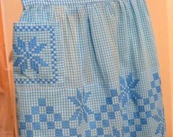 vintage apron ... Blue GINGHAM Star VINTAGE  APRON  ...