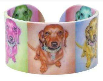 Colorful Long Hair Dachshund Bangle Bracelet ~ Sausage Dog ~ Weenie Dog