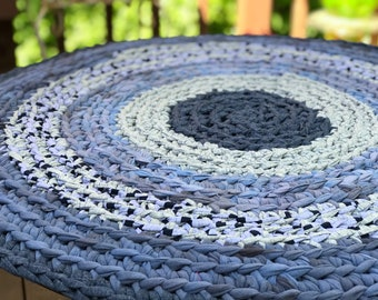 Round Rag Rug Shades of Gray Round Rug Recycled Textiles Yarn Ready to Ship