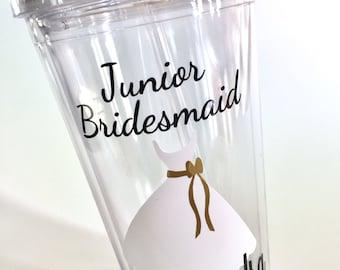 Will You Be My Junior Bridesmaid   Junior Bridesmaid Personalized Tumbler  Bridesmaid Gift, Bridal Party Gift - 16 oz Tumbler