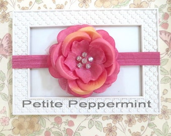 Pink and Peach Baby Flower Headbands, baby headband, toddler headband, Baby Headband Flower, Baby Bows, Baby Hair Bow