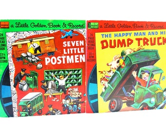 Little Golden Book & Record Sets Seven Little Postmen and The Happy Man And His Dump Truck