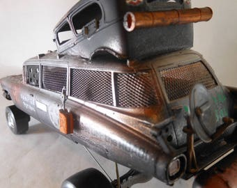 Scale Model Car,Vampire Hunting,Steampunk,Cadillac Wreck,Junker Model,Rusted Wreck,Road Warrior