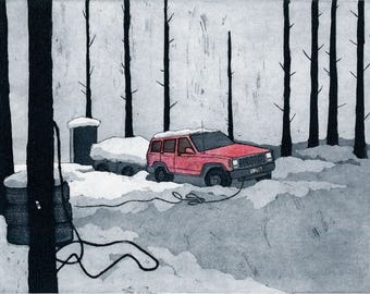 Broke Down Jeep, Winter 2016 - Original Etching, Aquatint and Chine Colle