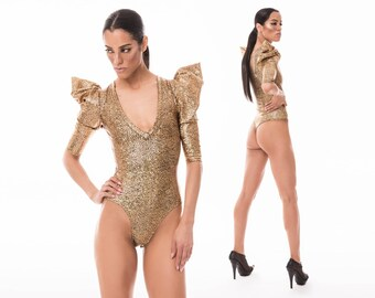 Signature Thong Bodysuit; Gold Holographic, Lady Gaga, Burning Man, Exotic Dance Wear, Sexy Bodysuit, Festival Playsuit, LENA QUIST