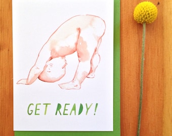 Baby Card | first birthday | new baby card | baby birthday card | congratulations | watercolor card | expecting card | funny pregnant | art